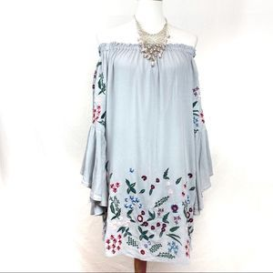 Umgee off shoulder embroidered tunic (or dress)
